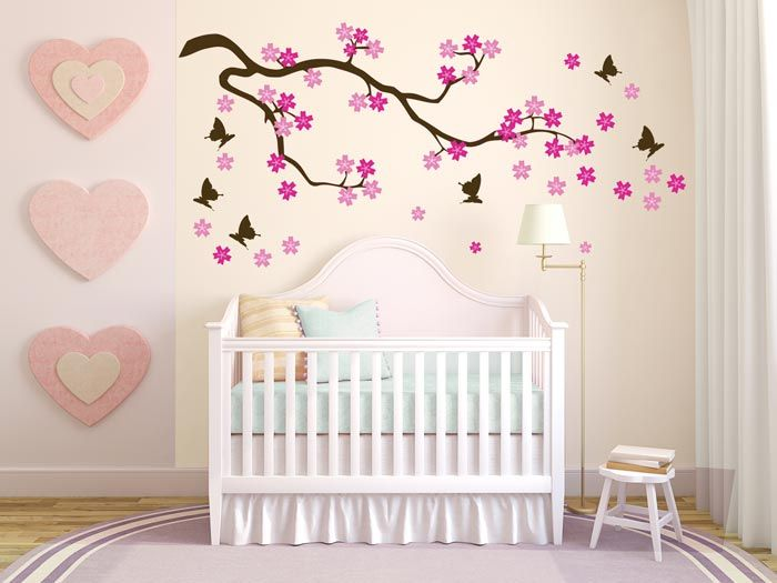 Butterfly Blowing Cherry Blossom, dark brown, Αυτοκόλλητο τοίχου,19,90 €,http://www.stickit.gr/index.php?id_product=112&controller=product