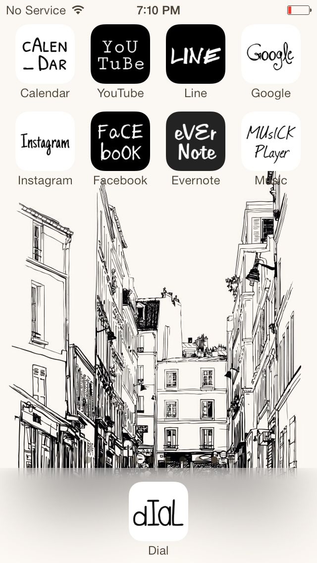 [LINE DECO[ Monmartre in Paris  Wonderful home screen decorated with hand-drawing icons! ★ In this screen ★ Deco Pack: Calligraphy Wallpaper...