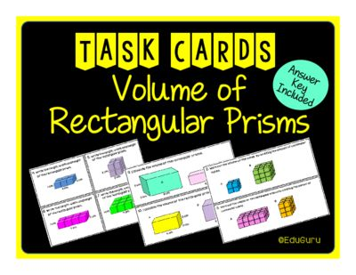 Volume of Rectangular Prisms Task Cards from EduGuru from EduGuru on TeachersNotebook.com (14 pages)  - These task cards have been designed to support and challenge students with understanding what volume is and how to calculate volume of rectangular prisms. Students LOVE the activities!