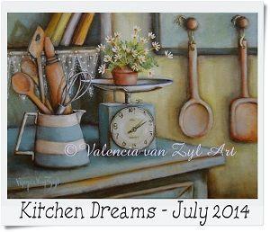 Valencia Van Zyl Art Acrylic on canvas www.facebook.com/... Sold Still life Kitchen scale jug daisies flowers