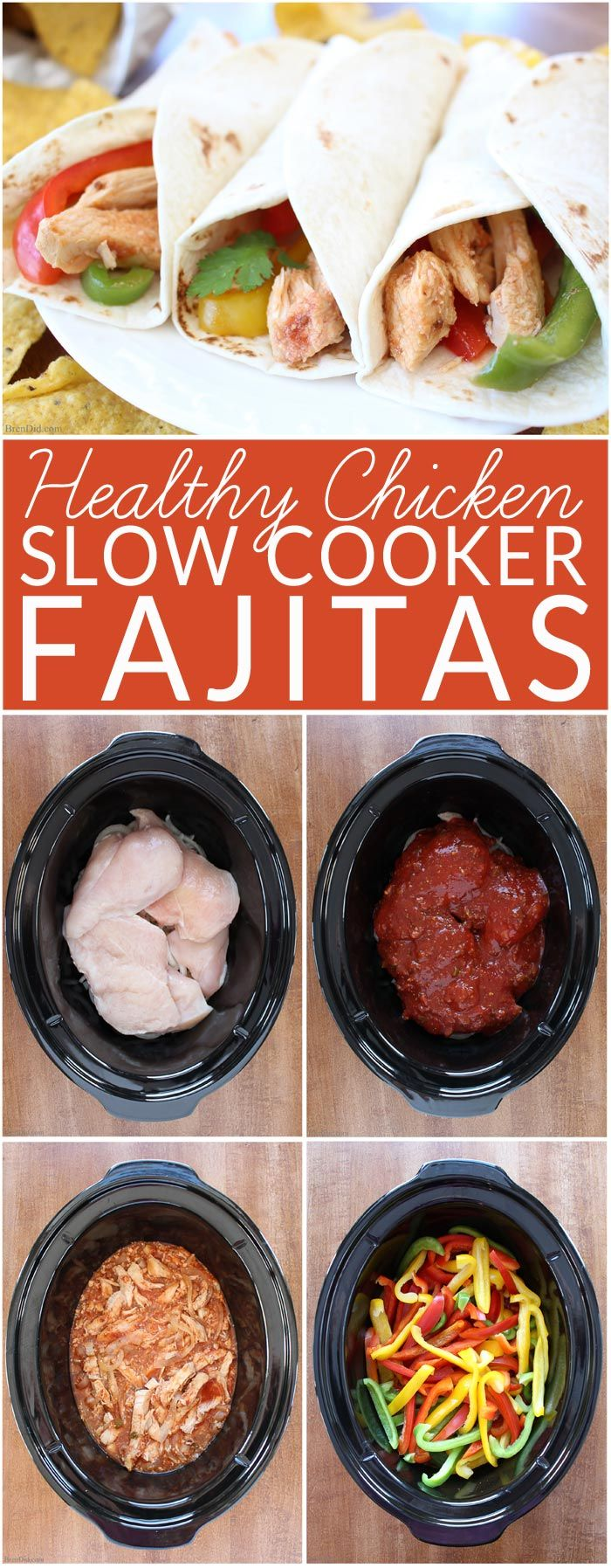 My new go to recipe for fajitas! Slow Cooker Chicken Fajitas - A quick, no-fuss way to make this healthy Mexican food favorite. These are easiest chicken fajitas you will ever make and they taste AMAZING! Great Chicken Fajita taste → onions, red, yellow and green peppers, perfectly seasoned chicken breast –→ made in one pan with no precooking. Simple yummy crock pot recipe!