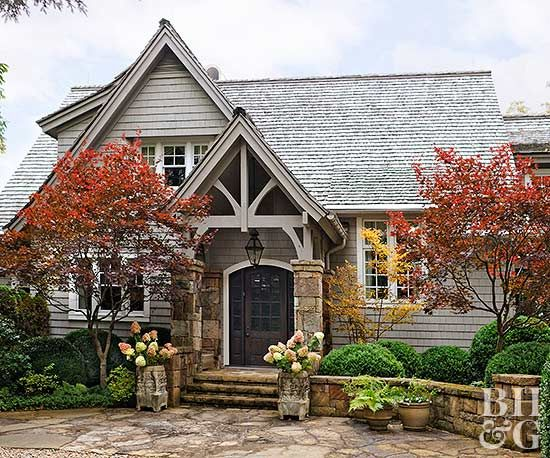 Add major curb appeal to your on a dime. Our ideas for refreshing your landscape, painting your front door, changing your house numbers, and more, will add interest to your home's exterior without breaking the bank. #curbappeal #budgethomedecortips #diy