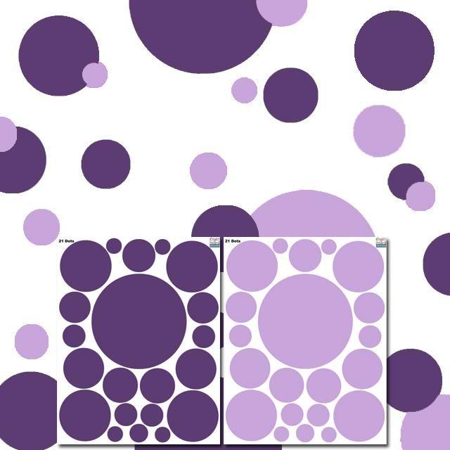 Polka Dot Wall Stickers -Lt. & Dk. Purple Wall Dot Decals