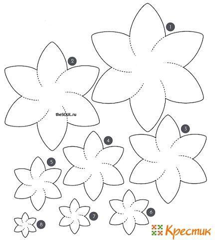 Прилагаем несколько готовых выкроек для цветов из фетра: