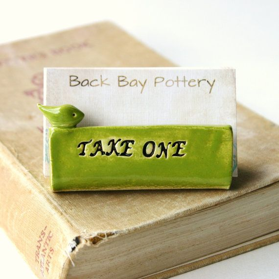 Take One Bird Ceramic Business Card Holder  by BackBayPottery, $24.50