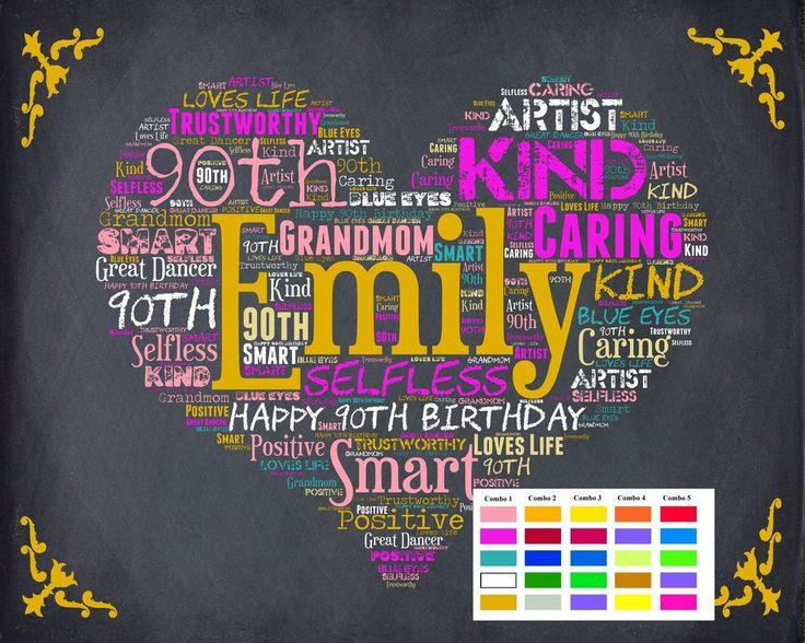 Personalized 90th Birthday Gift 90th Birthday Gift Ninety Birthday Gift Ideas Chalkboard Poster 90 Year Old Birthday DIGITAL DOWNLOAD .JPG