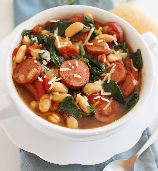 Smoked Sausage, Spinach and White Bean Soup ❤❤❤