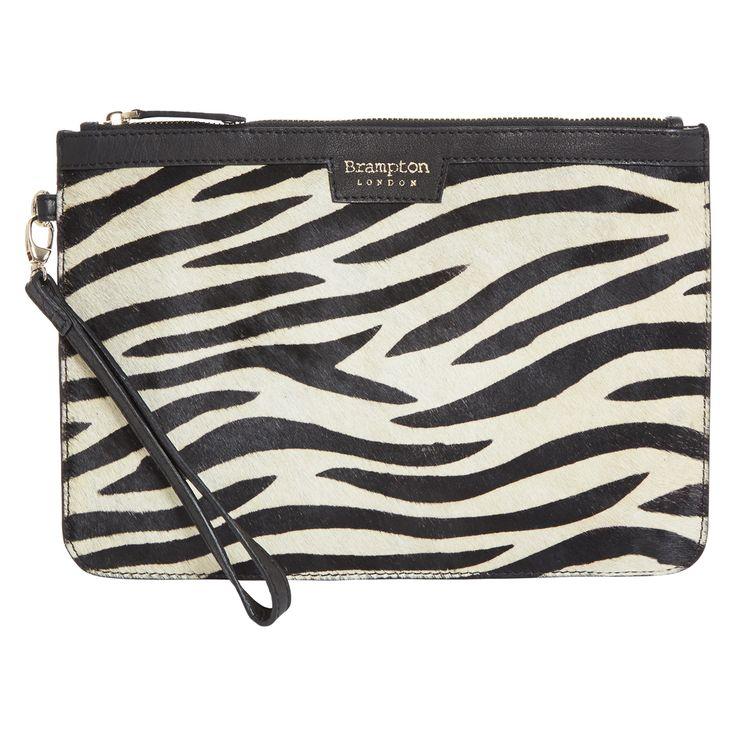 Brampton zebra print leather clutch bag tk maxx