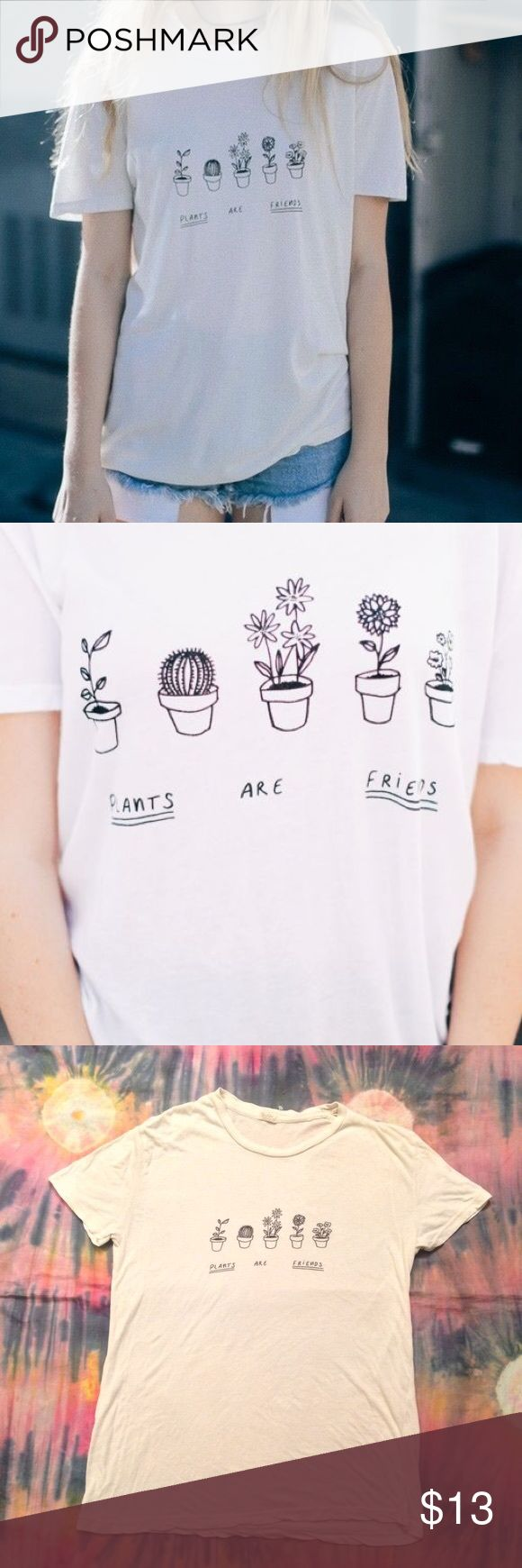 BRANDY MELVILLE Plants Are Friends T Shirt (OS) white graphic tee from brandy; one size fits most; lightly worn Brandy Melville Tops Tees - Short Sleeve