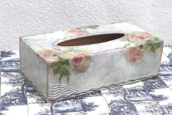Tissue Box Cover Hand Pained #Decoupage Bathroom #Decor