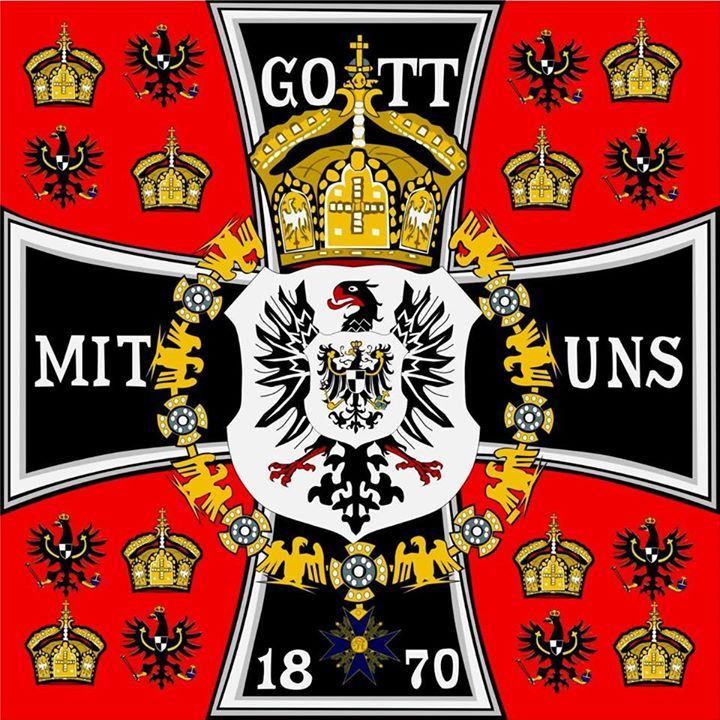 Gott mit uns (meaning God with us) is a phrase commonly used on armor in the German military from the German Empire to the end of the Third Reich, although its historical origins are far older.  The obverse gilt central disc bore the crown of Prussia, surrounded by a blue enamel ring bearing the motto of the German Empire Gott Mit Uns. At the time of the completion of German unification in 1871, the imperial standard bore the motto Gott mit uns on the arms of an Iron Cross.