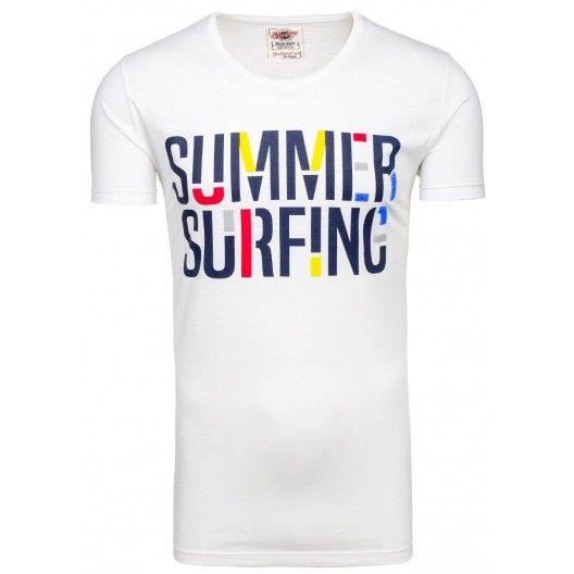 Tričko s krátkym rukávom bielej farby s okrúhlym výstrihom - fashionday.eu