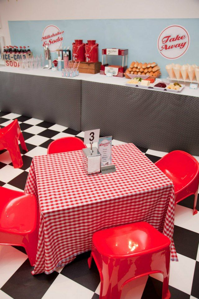 Retro 50 s diner baby shower themes tablecloths and 70 show for Decoration retro cuisine