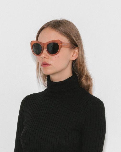 b2da7da3dae2 Dries Van Noten x Linda Farrow Peach Curve Sunglasses in Peach ...