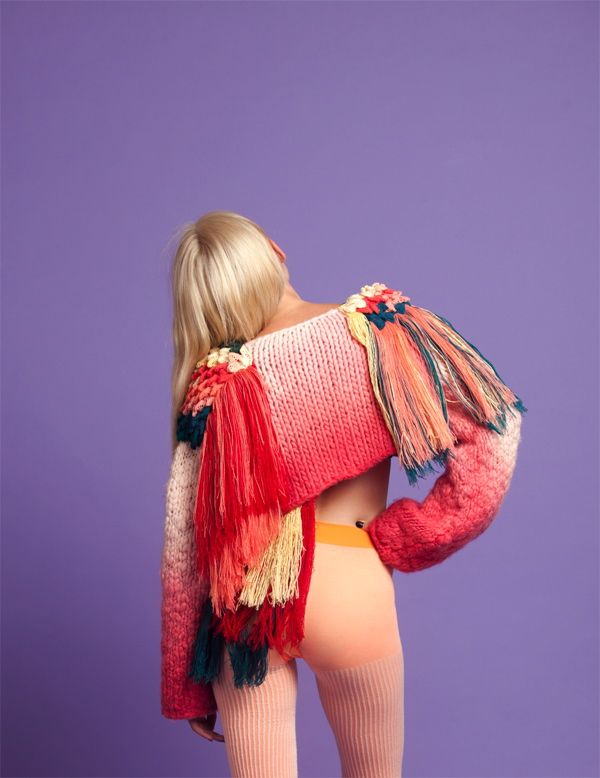Eileen Braybrook knitted coloured seeater jumper in bright colours and textures. Woah!!!