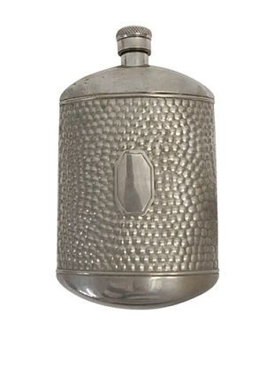 Vintage Circa 1930 Hammered Flask with Hexagon Emblem