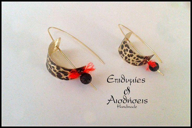 Handmade brass earrings with semipresious stone lava
