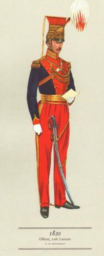 VINTAGE-MILITARY-CAVALRY-UNIFORM-PRINT-1820-OFFICER-12th-LANCERS