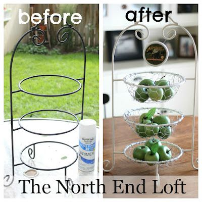 What to do with that plate stand that rarely gets used? ..... Add chicken wire and turn it into individual baskets.