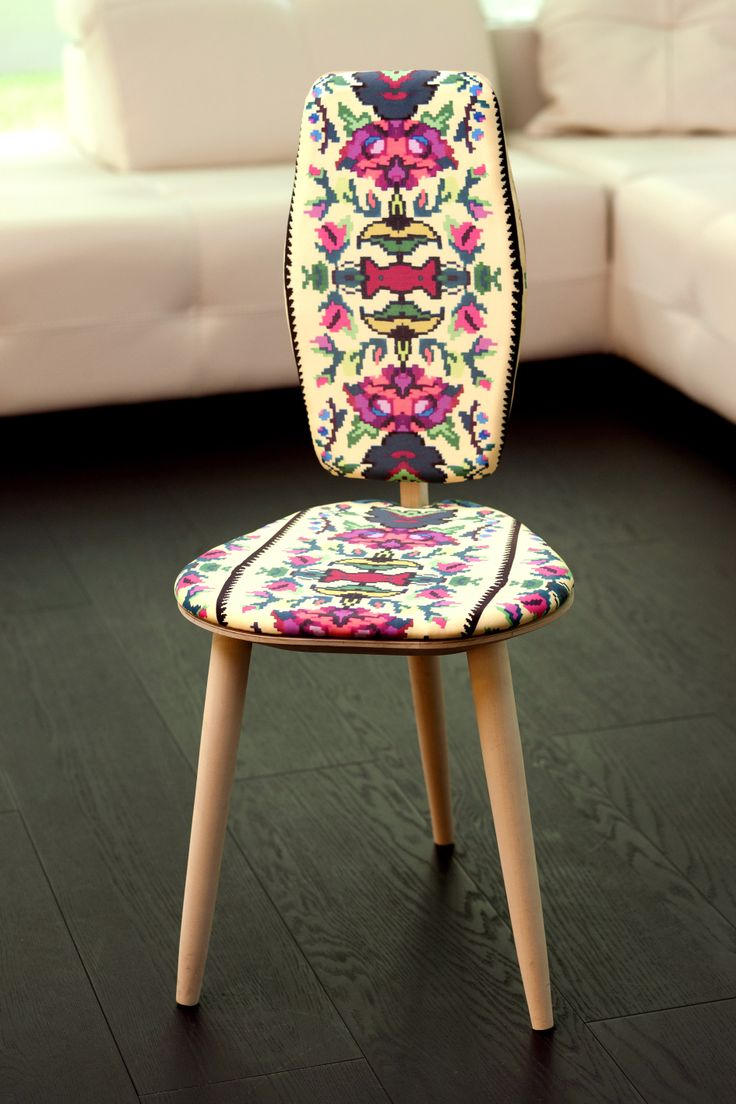 Photoliu designed their first chair inspired from romanian traditions and motifs.  The pattern is made by fashion designer Lana. Such a wonderful piece! More info at  info@photoliu.com