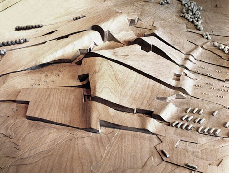 City of Culture of Galicia, Santiago de Compostela, Spain, competition model, 1999, by Peter Eisenman, Eisenman Architects. Project under construction.
