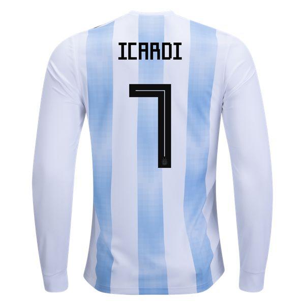 adidas Mauro Icardi Argentina Long Sleeve Home Jersey 2018