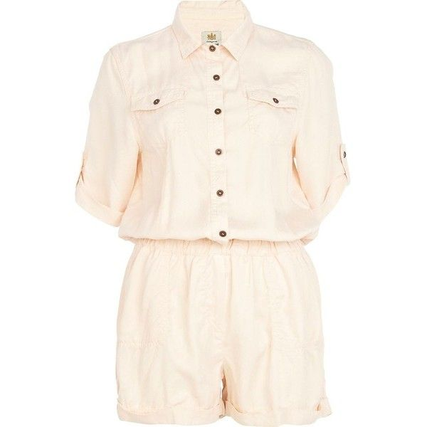 River Island Light orange casual shirt playsuit ($19) ❤ liked on Polyvore featuring jumpsuits, rompers, playsuit, jumpsuit, river island, sale, orange jumpsuit, jump suit, playsuit jumpsuit and orange jump suit