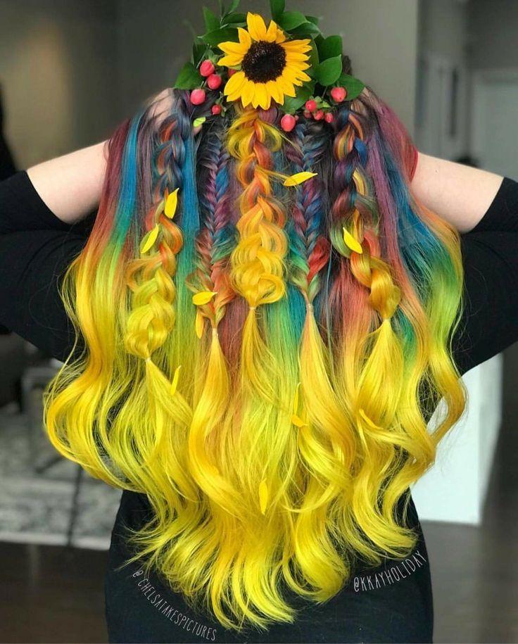 Strahlendes Regenbogenhaar ♥ #helle # Frisuren