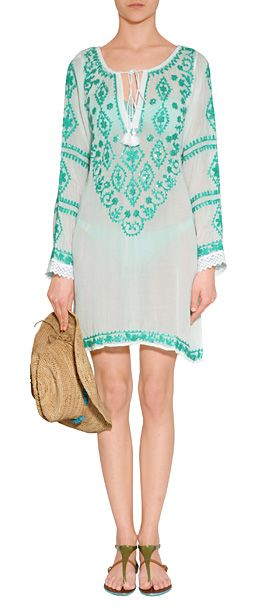 White/Mint Embroidered Laura Tunic MELISSA ODABASH