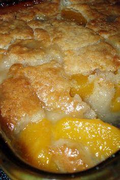 Peach Cobbler -2c. fresh sliced peaches -1c. Bisquick mix -1c. milk -1/2t nutmeg -1/2t cinnamon -1/2c. butter, melted -1c. sugar. In an 8x8 baking dish, stir Bisquick, milk, nutmeg & cinnamon together. Stir in melted butter. In a medium mixing bowl, stir sugar & peaches. Spoon over the cobbler crust. Bake for 1hr. at 375 degrees or until crust is golden brown.