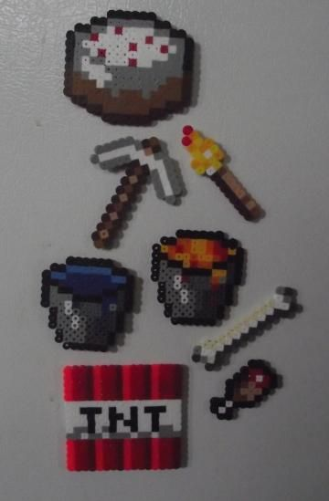 Minecraft Essentials, Perler Bead Manget Set by TheMeltedGeek for $7.00