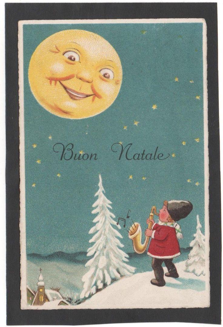 Cartolina Buon Natale BAMBINO SUONA SASSOFONO SOLE CON OCCHI YE232 in Collezionismo, Cartoline, Tematiche | eBay
