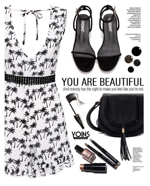 """B&W- Yoins"" by yexyka ❤ liked on Polyvore featuring Bobbi Brown Cosmetics and Lancôme"