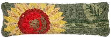 "Single Sunflower 8""""x24"""" Lumbar Hooked Wool Pillow"