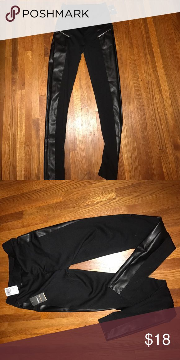 NWT Black Legging Thick Black Legging, Small Zipper Pockets In Front, Leather Front Around To Partial Side As Pictured. Back and band 100% polyester. Forever 21 Other