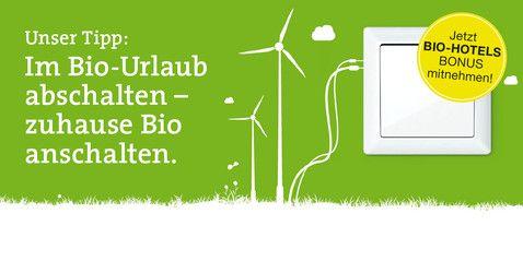 Deb ehc-zertifizierten (ecohotelscertified) #BIOHOTELS schreibt das Siegel unter anderem den #Ökostrombezug sowie eine aktive CO2- Reduzierung vor.  Wir empfehlen unseren Gästen  #Ökostrom von Greenpeace und belohnen Stromwechsler.