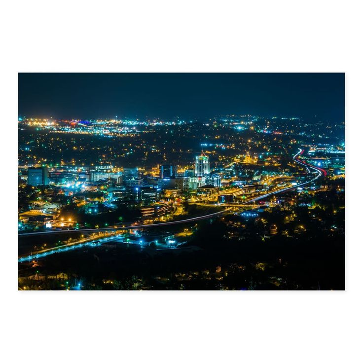 Noir Gallery Roanoke, Virginia Skyline at Night Photo Print on .