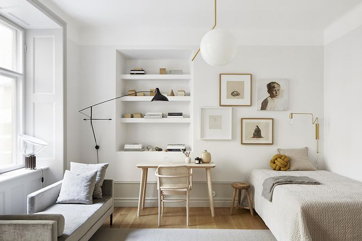 my scandinavian home: Bedroom /  sitting area in a small Swedish space in creams and milky whites