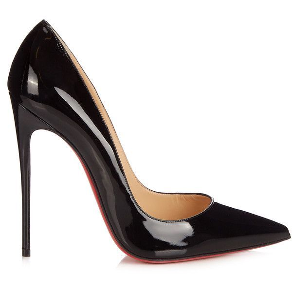 Christian Louboutin So Kate 120mm patent-leather pumps ($442) ❤ liked on Polyvore featuring shoes, pumps, black, patent shoes, black patent pumps, kohl shoes, black shoes and patent leather shoes