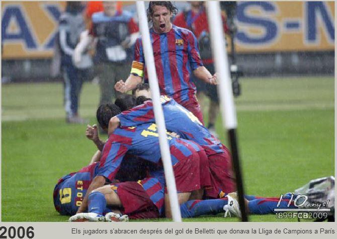 El Barça con goles de Etoo y Belleti se lleva su segunda Copa de Campeones Europea en Paris ante el Arsenal, año 2006