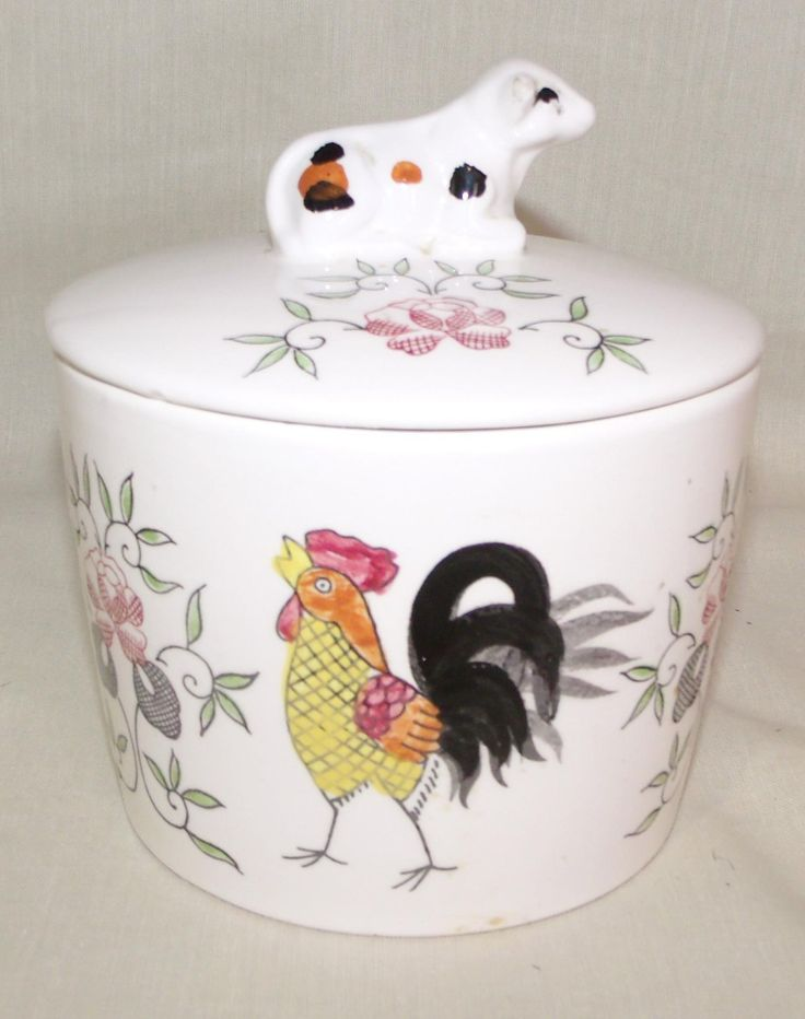 Early Provincial Vintage Napco Rooster Flowers Canister Grease Jar Ceramic W Cow Lid An Kitchen Decor