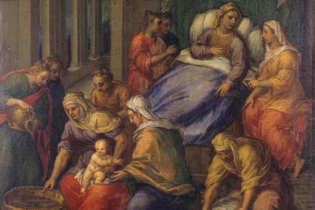 What Is the Nativity of the Blessed Virgin Mary?: Italy, Emilia Romagna, Ferrara, National Gallery. In the lower part the newborn Virgin Mary is washed
