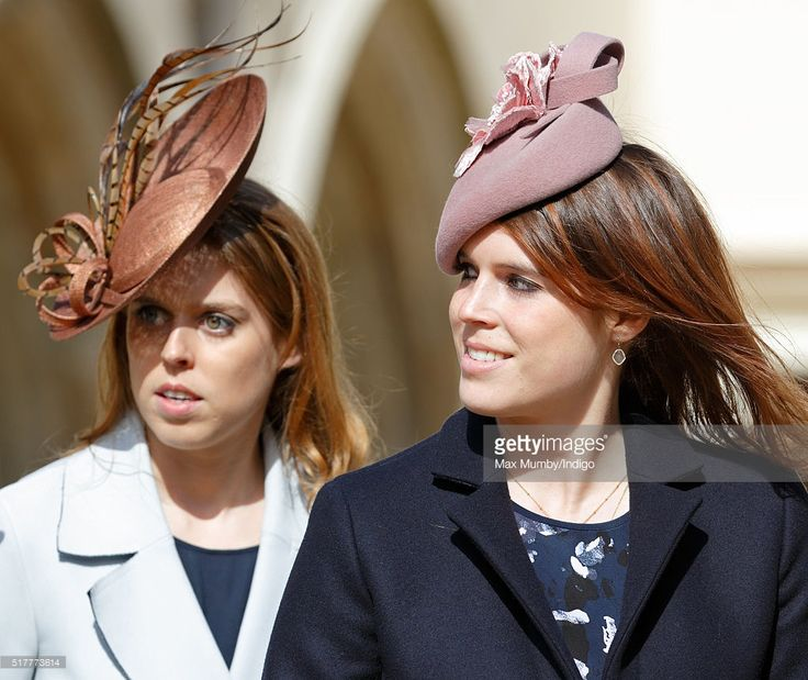 (EMBARGOED FOR PUBLICATION IN UK NEWSPAPERS UNTIL 48 HOURS AFTER CREATE DATE AND TIME) Princess Beatrice and Princess Eugenie attend the traditional Easter Sunday church service at St George's Chapel, Windsor Castle on March 27, 2016 in Windsor, England. (Photo by Max Mumby/Indigo/Getty Images)