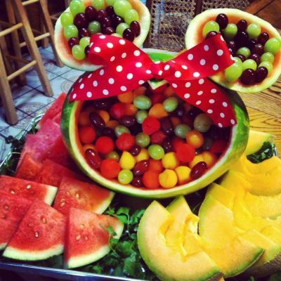 Healthy Mickey Mouse fruit display.  See more Mickey Mouse birthday party and kids birthday party ideas at www.one-stop-party-ideas.com
