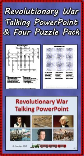 Turn down the lights and turn up the volume for the Revolutionary War Talking PowerPoint! This slideshow highlights 48 persons, events, documents and more. Each slide is narrated so students can progress through the presentation in a computer lab setting. Ideal for introducing topics children can select for further study. Also included are two crossword puzzles and two word searches basic upon facts found in the presentation. Answer sheets are included. ($)