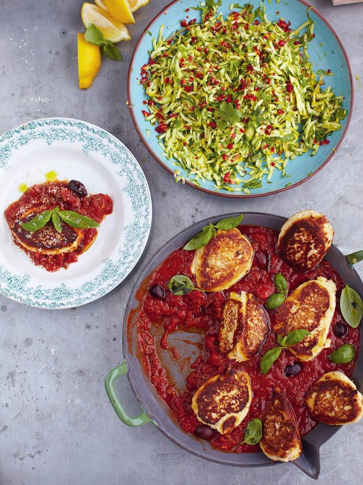 Ricotta fritters with tomato sauce & courgette salad via Jamie Oliver.