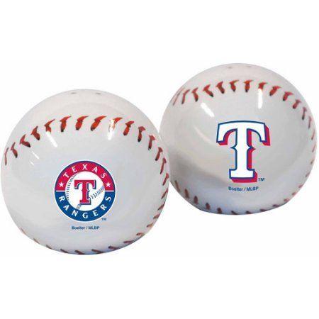 MLB Rangers Baseball Shaped Salt and Pepper Shakers, Multicolor