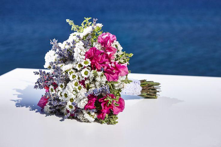 Bridal bouquet - Goldenrod, Bougainvillea, Amaranth, Lavender tied in guipure lace