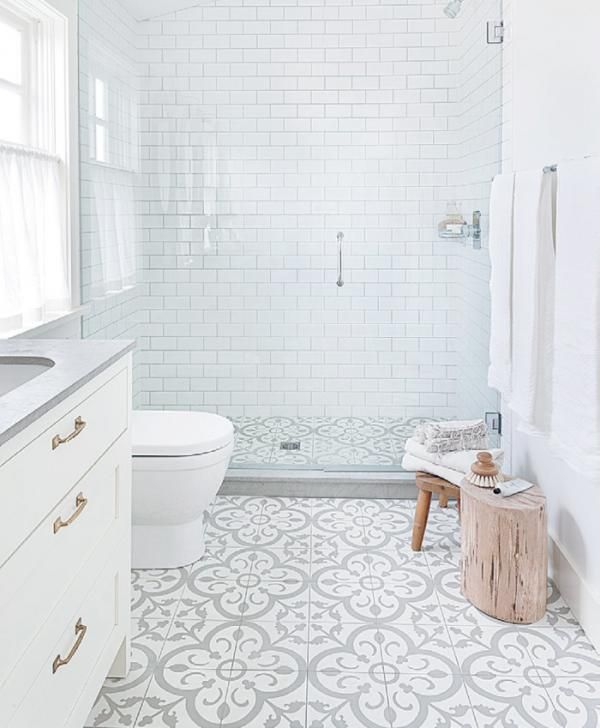 Patterned floor bathroom tile which goes into the shower