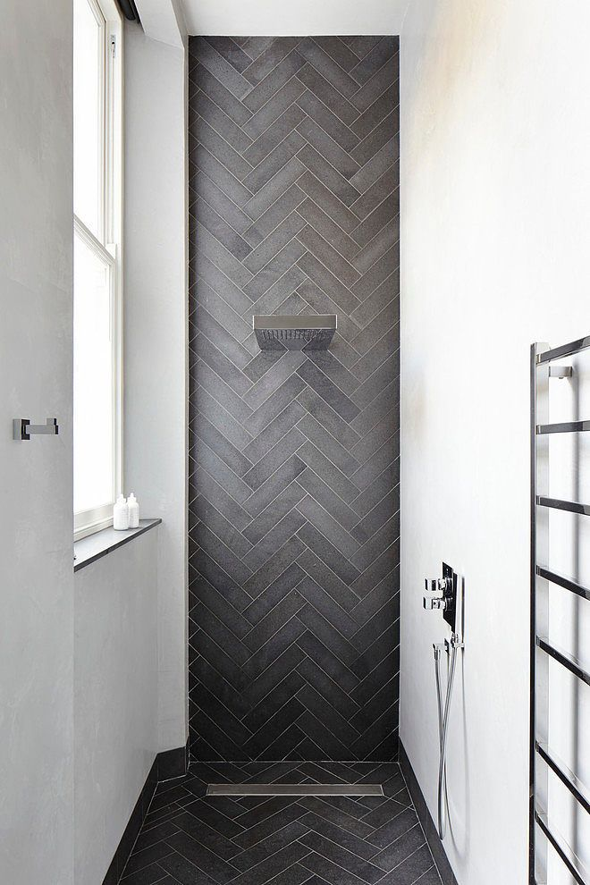 :: Havens South Designs :: loves this narrow shower in white and a focal wall of dark herringbone tile by Dyer Grimes Architects | HomeAdore